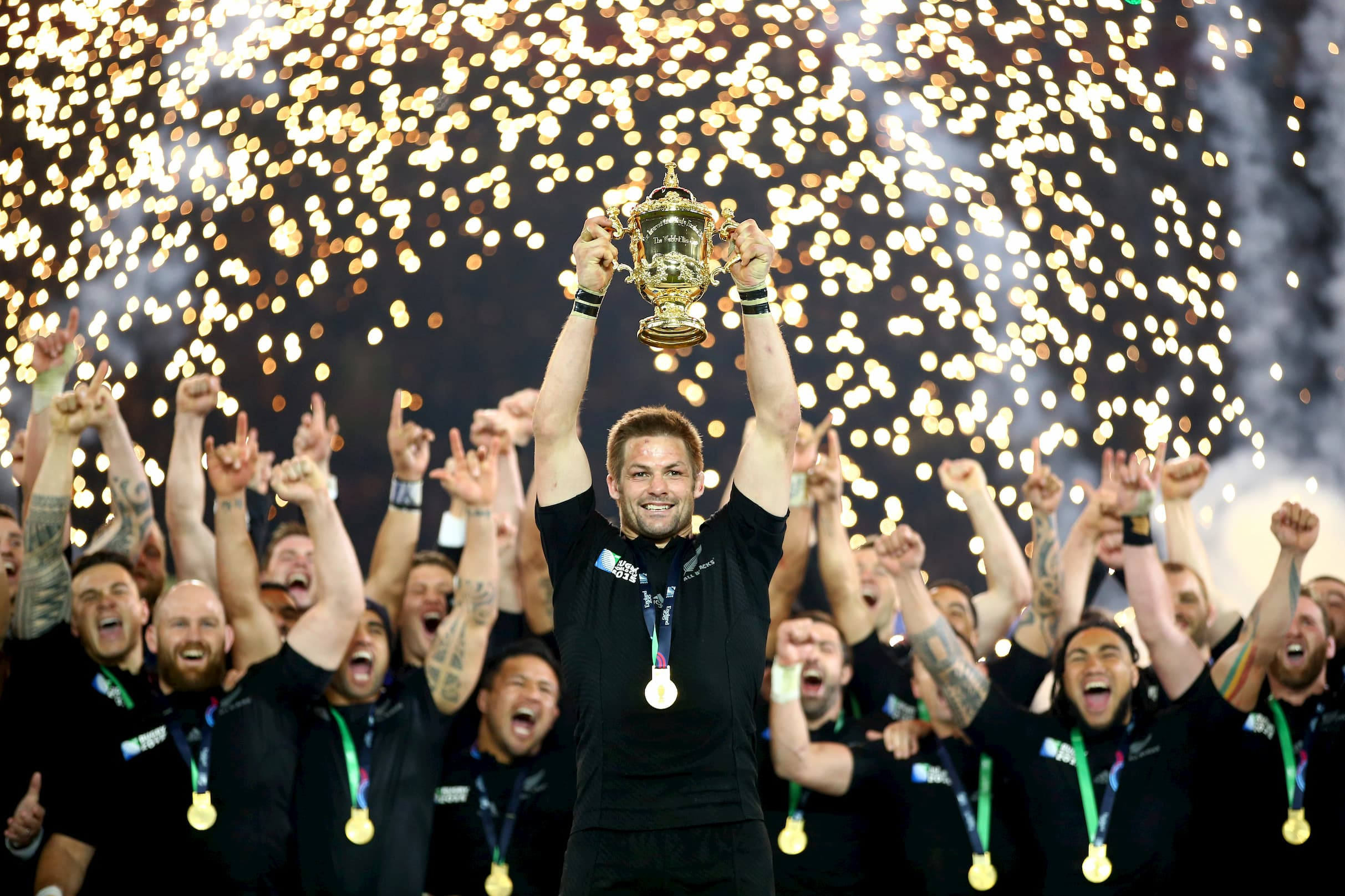 1 Lifting the Webb Ellis Cup Australia v New Zealand RWC 2015 Final London October 31 2015